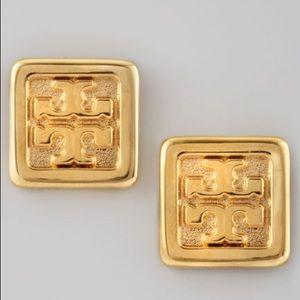 Tory Burch Square Logo Stud Earrings